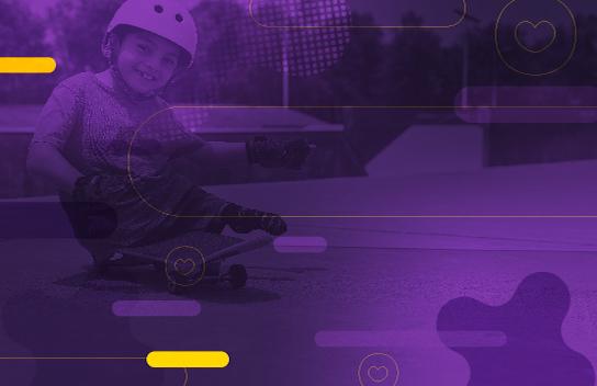 Diseño de fondo morado con contorno de niño con discapacidad en una patineta