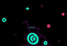 Ilustración con una silla de ruedas