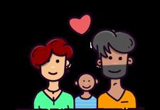 Ilustración de familia feliz.