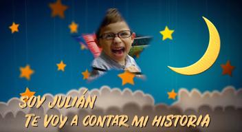 Julián con fondo de estrellas y luna y texto