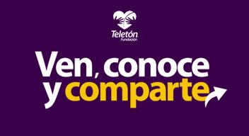 Fondo morado con logo de Teletón y texto