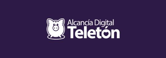 Fondo morado y logo de Alcancía Digital Teletón