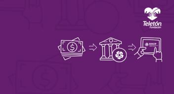Fondo morado con Logo de Teletón y varios iconos