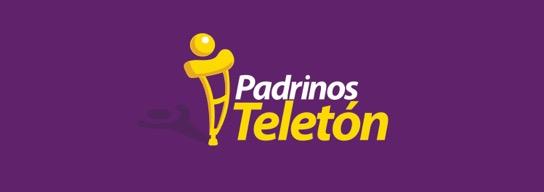 Fondo morado y logo de Padrinos Teletón