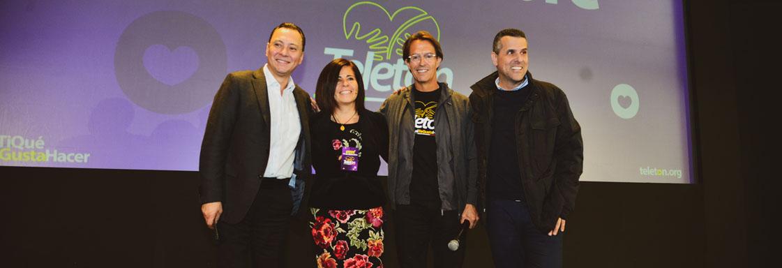 Imagen de conductores de rueda de prensa. De izquierda derecha: Mariano Osorio, Rossana Corona, Fernando Landeros, Marco Antonio Regil