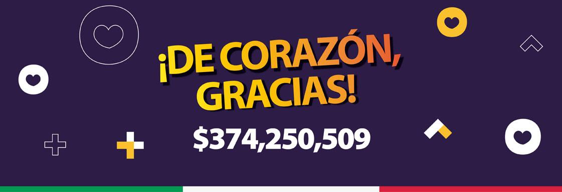 Texto sobre fondo morado decorado con corazones: ¡De corazón, gracias! $374,250,509