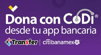 Texto sobre fondo morado: Dona con CoDi desde tu app bancaria