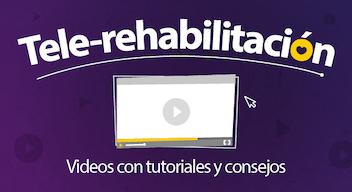 Fondo morado con texto blanco: Tele-Rehabilitación