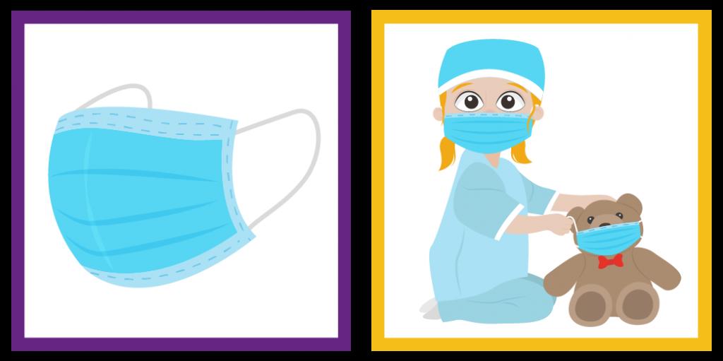 Dos viñetas. De izquierda a derecha: viñeta 1: icono de cubrebocas, viñeta 2: imagen de niña colocando cubrebocas a un muñeco de peluche