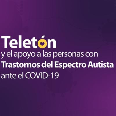 Texto blanco sobre fondo morado: Teletón y el apoyo a las personas con Trastornos del Espectro Autista ante el COVID-19