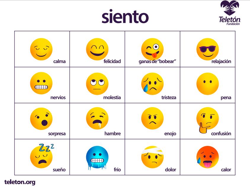 """Esta es una imagen de un tablero de comunicación. Hasta arriba está la palabra """"Siento"""". Abajo hay 16 imágenes de emojis, con textos descriptivos. Es un cuadro de 4 por 4. Fila 1, imagen 1: Emoji con los ojos cerrados y una sonrisa, el texto: """"Calma"""" Fila 1, imagen 2: Emoji sonriente, el texto: """"Felicidad"""" Fila 1, imagen 3: Emoji con un ojo cerrado y la lengua de fuera, el texto: """"Ganas de bobear"""" Fila 1, imagen 4: Emoji con lentes oscuros, el texto: """"Relajación"""" Fila 2, imagen 1: Emoji mostrando los dientes en una sonrisa recta, el texto: """"Nervios"""" Fila 2, imagen 2: Emoji con los ojos hacia arriba y la boca en línea recta, el texto: """"Molestia"""" Fila 2, imagen 3: Emoji con una lágrima y mueca de tristeza, el texto: """"Tristeza"""" Fila 2, imagen 4: Emoji sin boca, el texto: """"Pena"""" Fila 3, imagen 1: Emoji con la boca abierta, el texto: """"Sorpresa"""" Fila 3, imagen 2: Emoji con la boca abierta, sacando baba, el texto: """"Hambre"""" Fila 3, imagen 3: Emoji con cara de enojo, el texto: """"Enojo"""" Fila 3, imagen 4: Emoji con mirada dubitativa, el texto: """"Confusión Fila 4, imagen 1: Emoji con los ojos cerrados, dormido, el texto: """"Sueño"""" Fila 4, imagen 2: Emoji color azul, congelado, el texto: """"Frío"""" Fila 4, imagen 3: Emoji con una venda en la cabeza y cara de tristeza, el texto: """"Dolor"""" Fila 4, imagen 4: Emoji color rojo, con sudor, la lengua de fuera, el texto: """"Calor"""""""