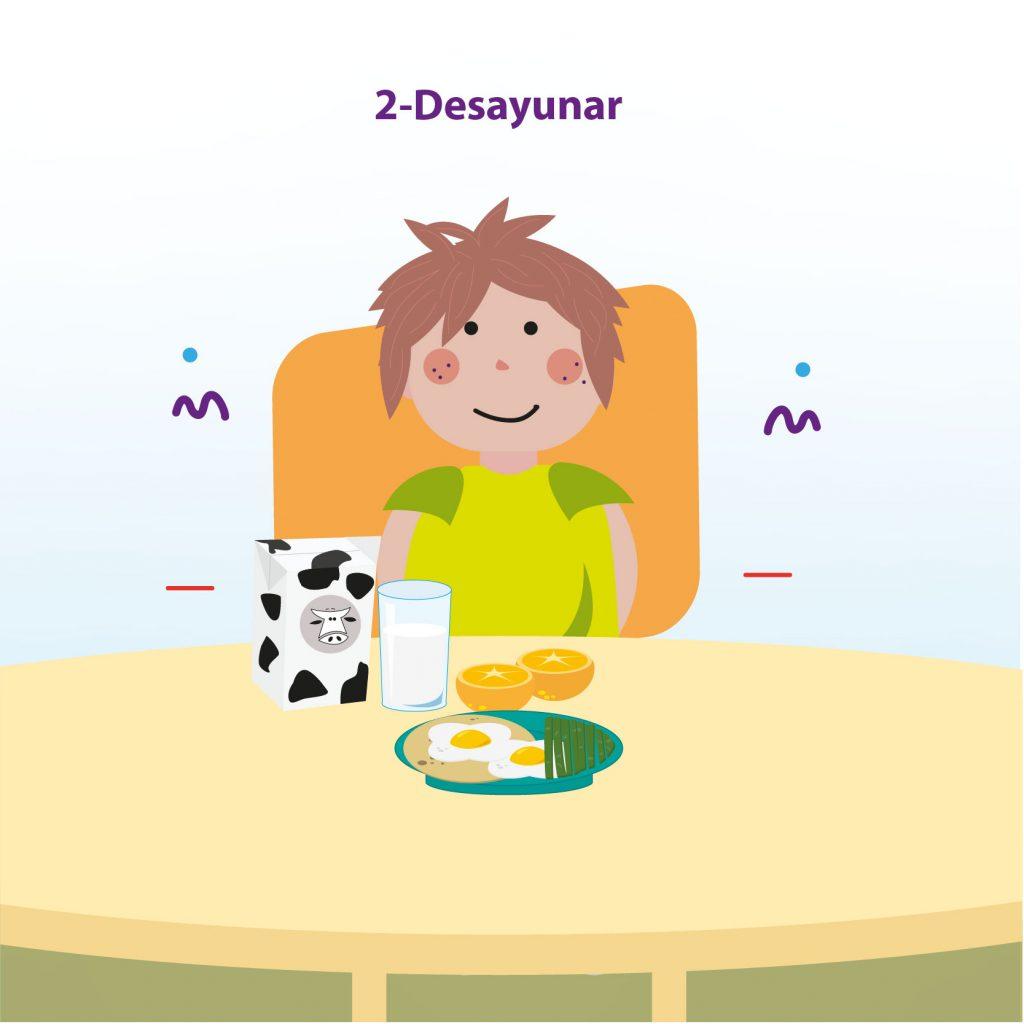 """Ilustración de niño sentado a la mesa frente a un desayuno que consta de un par de huevos, un par de naranjas y un vaso con leche, con el texto: """"Paso 2: Desayunar"""""""