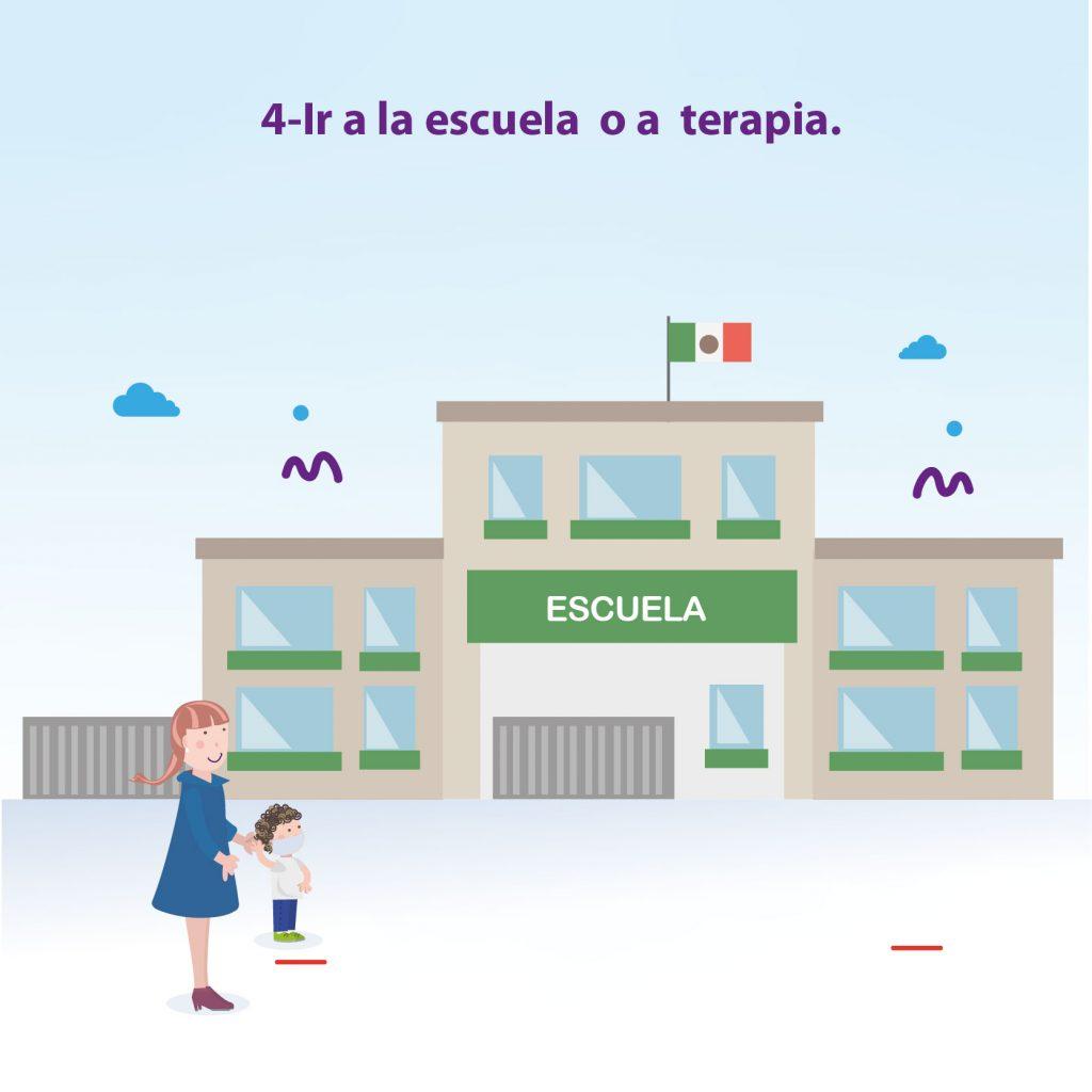 """Ilustración de niño llegando a la escuela acompañado de su mamá, con el texto: """"Paso 4: Ir a la escuela o a terapia"""""""