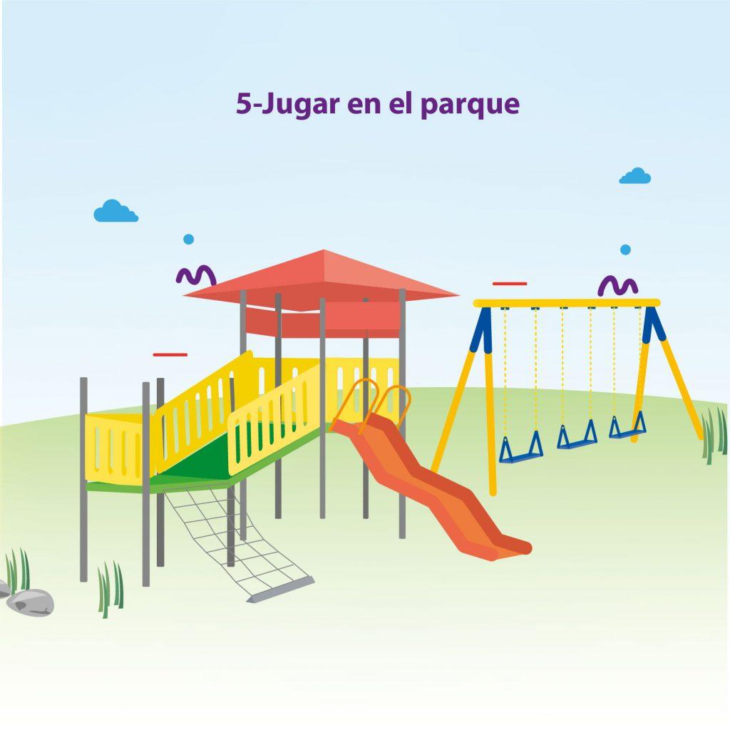 """Ilustración de los juegos de un parque, tres columpios, una resbaladilla, con el texto: """"Paso 5: jugar en el parque"""""""