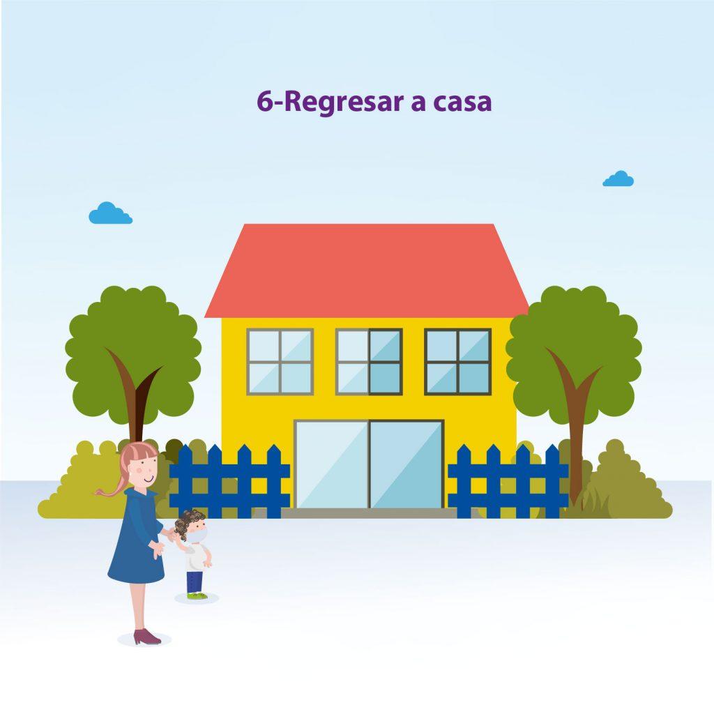 """Ilustración de niño llegando a casa acompañado de su mamá, con el texto: """"Paso 6: regresar a casa"""""""