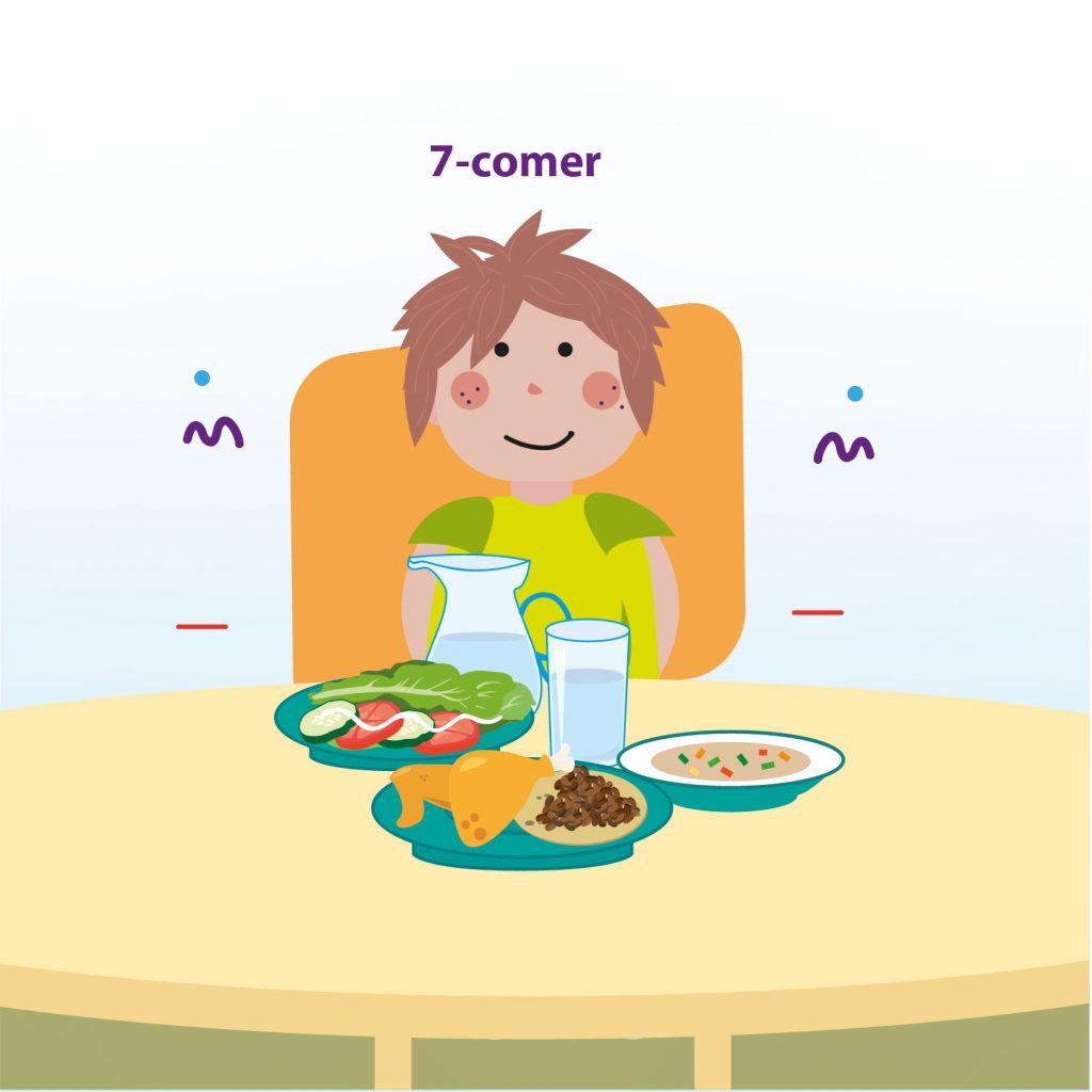 """Ilustración de un niño sentado a la mesa para la coimda junto a una jarra de agua, sopa, espagueti y ensalada, con el texto: """"Paso 7: comer"""""""