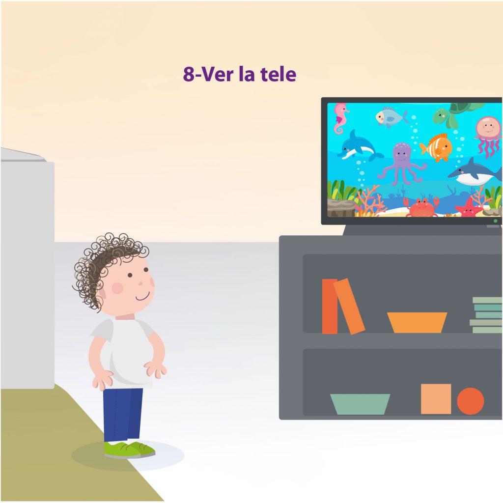 """Ilustración de un niño viendo una caricatura en la televisión, con el texto: """"Paso 8: ver la tele"""""""