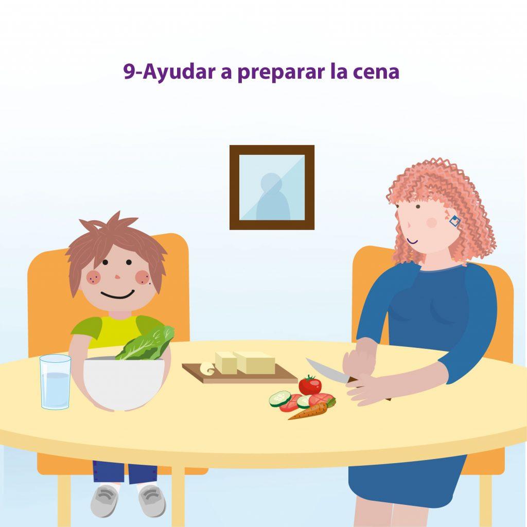 """Ilustración de un niño y su mamá preparando un sándwich, con el texto: """"Paso 9: ayudar a preparar la cena"""""""