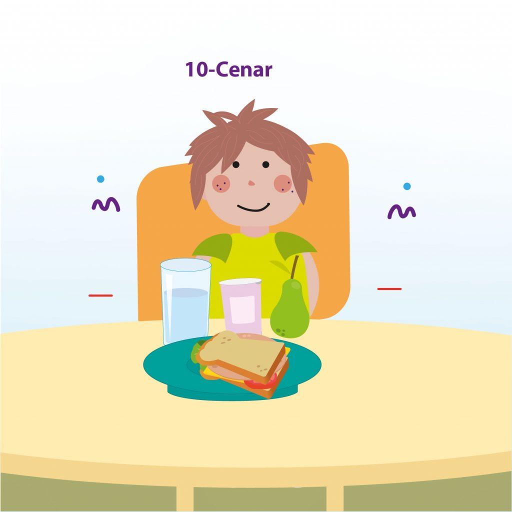 """Ilustración de un niño sentado a la mesa frente a un sándwich, con el texto: """"Paso 10: cenar"""""""
