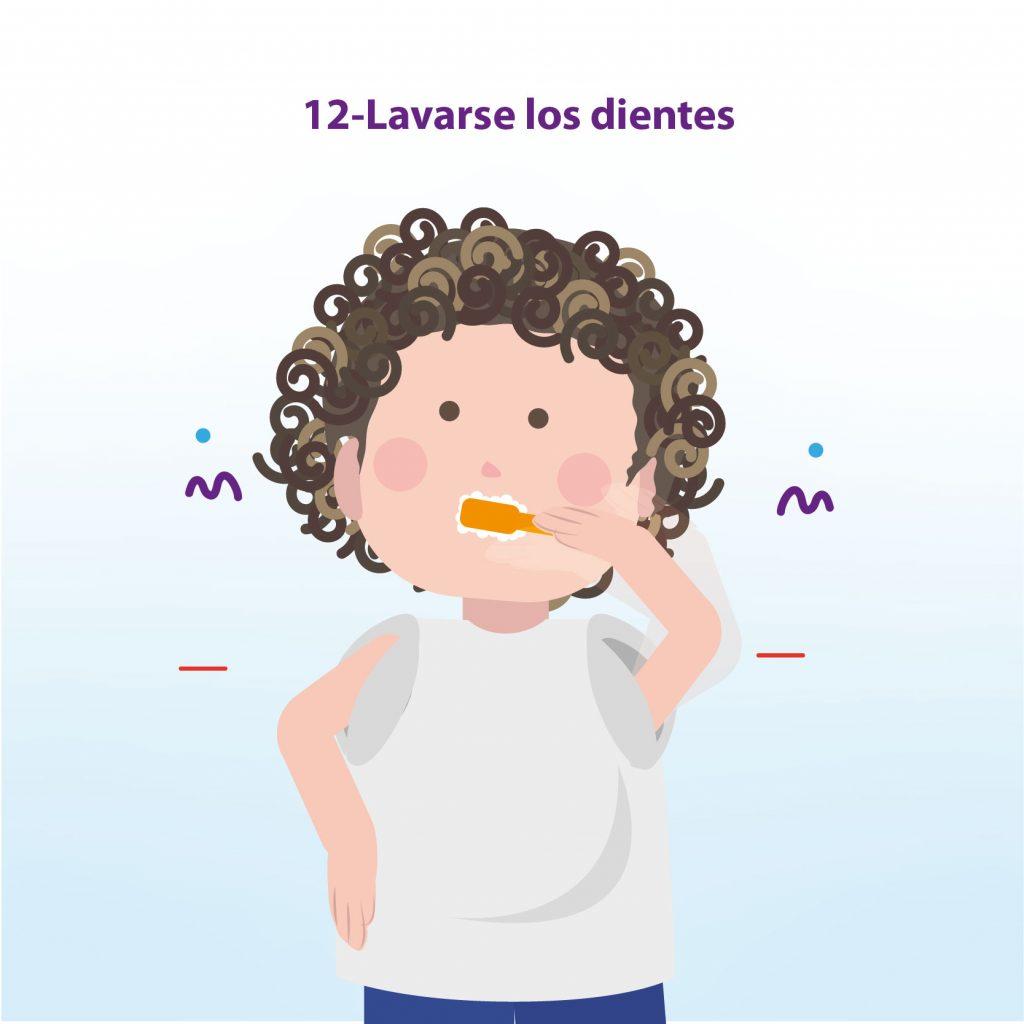 """Ilustración de niño lavando sus dientes, con el texto: """"Paso 12: Lavarse los dientes"""""""