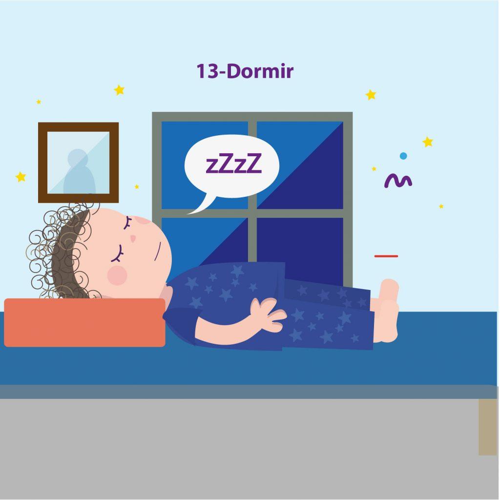 """Ilustración de niño acostado en la cama, dormido, con el texto: """"Paso 13: dormir"""""""