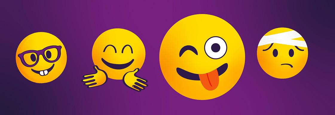 Cuatro emojis sobre un fondo morado: emoji 1, con lentes; emoji 2, sonriente; emoji 3, guiñando un ojo y sacando la lengua; emoji 4, con mueca de tristeza y una venda en la cabeza