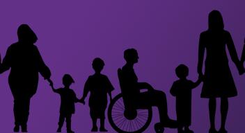 Siluetas negras de personas con y sin discapacidad sobre fondo morado