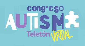 Diseño de fondo azul claro, con texto de color azul oscuro: Congreso Autismo Teletón Virtual