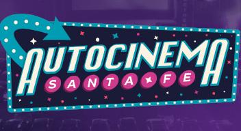 Imagen del logo del Autocinema Santa Fe. El logo es una marquesina con el texto: Autocinema Santa Fe.