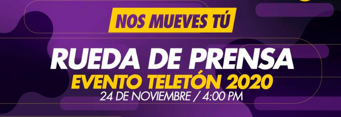 Diseño de texto blanco sobre fondo morado: Rueda de prensa Evento Teletón 2020a