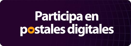 Diseño de texto blanco sobre fondo morado: Participa en postales digitales
