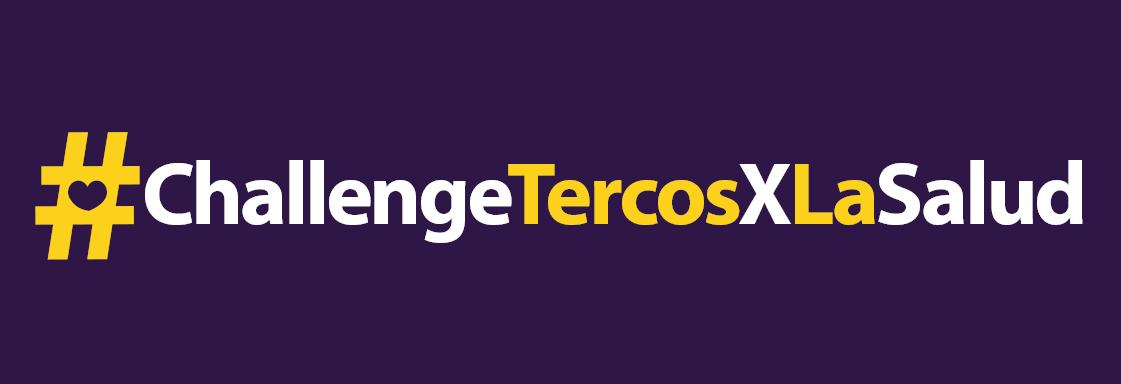 Texto blanco sobre fondo morado: #ChallengeTercosXLaSalud