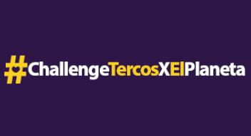 Texto blanco sobre fondo morado: #ChallengeTercosXElPlaneta
