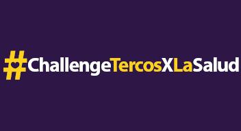 Imagen preliminar. Texto blanco sobre fondo morado: #ChallengeTercosXLaSalud