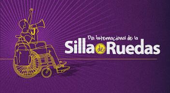 Ilustración de una silla de ruedas amarilla sobre un fondo morado. Diseño del texto: Día internacional de la Silla de Ruedas