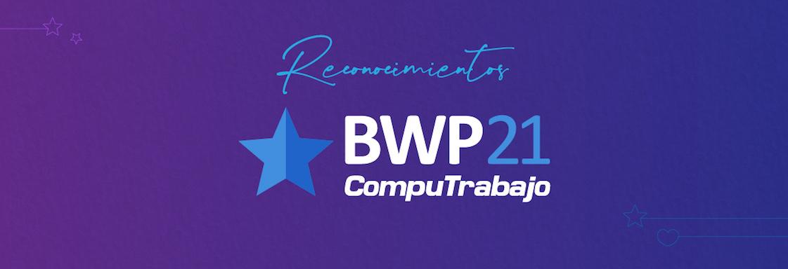 Logo de BestWorkPlaces de CompuTrabajo 2021 sobre fondo morado