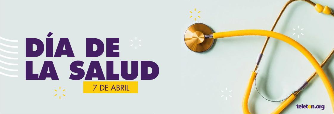 """Imagen decorativa. Fondo: una fotografía de un estetoscopio. Al frente: texto que lee """"Día de la Salud, 7 de abril""""."""