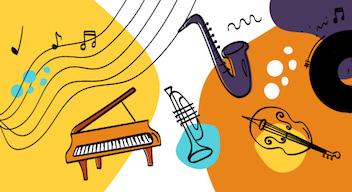 Ilustraciones de instrumentos musicales acompañan una fotografía en blanco y negro de Juan José Calatayud frente al piano. Aparece el texto Juan José Calatayud, perfil del gran pianista mexicano