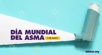 Diseño azul con blanco. Tiene la imagen de un inhalador y el texto: Día mundial del asma. 5 de mayo.