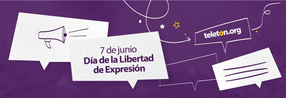 Diseño de texto sobre fondo morado, con la frase: 7 de junio, día de la libertad de expresión