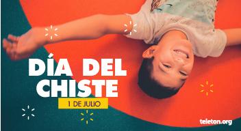 Fotografía cenital de un niño riendo, recostado sobre un fondo naranja. Sobre la imagen está el texto, en blanco: Día del Chiste