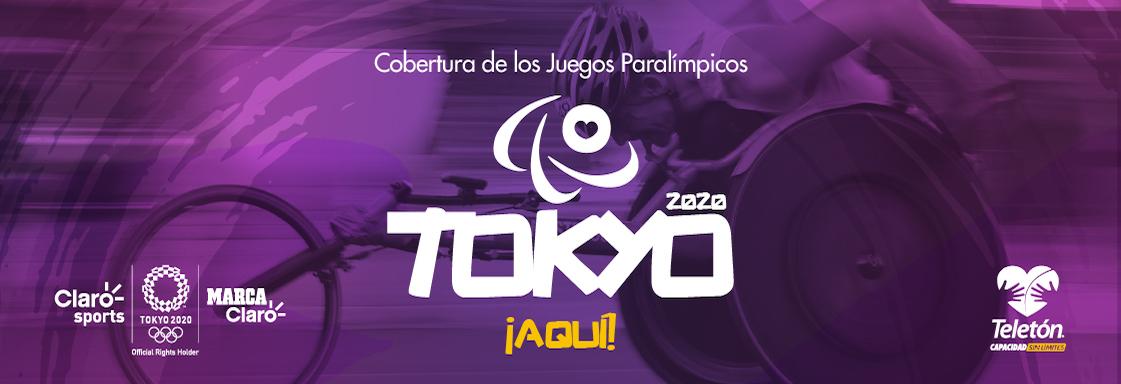 Diseño de velocista sobre silla de ruedas deportiva. Sobre la imagen el texto: Cobertura de los Juegos Paralímpicos Tokyo 2020 ¡Aquí!