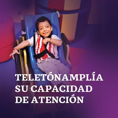 Diseño de texto blanco sobre fondo morado: TELETÓN AMPLÍA SU CAPACIDAD DE ATENCIÓN