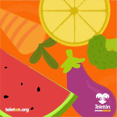 Ilustración de frutas y verduras coloridos sobre un fondo naranja. De izquierda a derecha: una zanahoria, una sandía, una berenjena y una naranja
