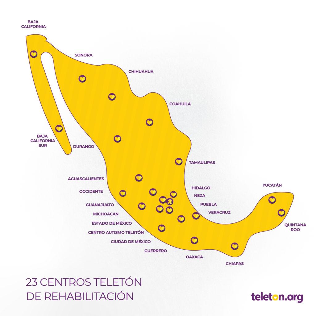 Diseño de mapa de la república mexicana con las ubicaciones de 23 Centros Teletón